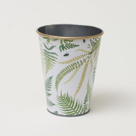 30% DTO. Tarro/Porta utensilios zinc estampado hojas verdes tropical -
