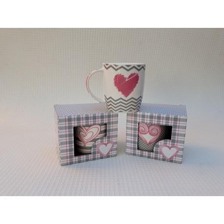 30% DTO. Taza mug de porcelana en caja - Corazon rosa y gris