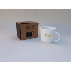 30% DTO. Mug deco de porcelana blanca TEA