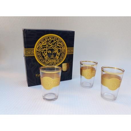 30% DTO. Vasos de vidrio con guarda dorada - set x 6