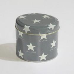 20% DTO. Lata cilindrica estrellas gris y blanco