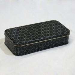 1 - Cartuchera de lata negro geometrico