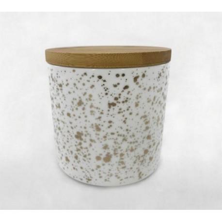 20% DTO. Linea W&G - Tarro deco de ceramica blanco con pintas doradas y tapa de madera Grande