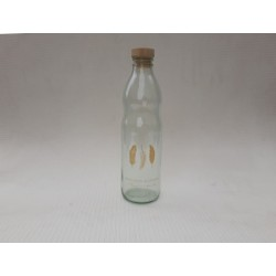 20% DTO. Botella de vidrio con tapa simil corcho Plumas dorada