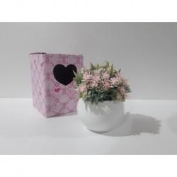 20% DTO. Planta artificial mix florcitas con maceta de ceramica blanca