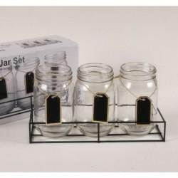 20% DTO. Set de vasos de vidrio con pizarra con bandeja de metal