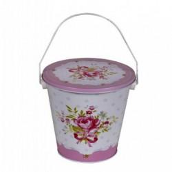 20% DTO. Balde de lata con tapa rosa flores - mediano