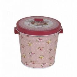 20% DTO. Balde de lata con tapa rosa flores - chico