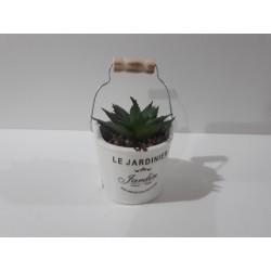20% DTO. Planta artificial cactus con maceta de ceramica balde