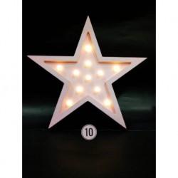 Cartel Luminoso de madera con profundidad estrella