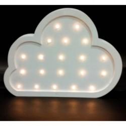 Cartel Luminoso de madera con profundidad nube