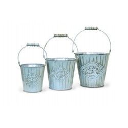 20% DTO. Canasto de metal balde vintage aqua Set x 3