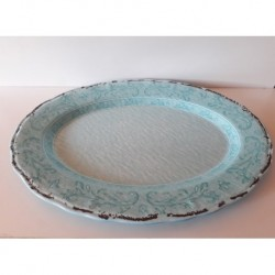 20% DTO. Bandeja oval vintage de melamina turquesa
