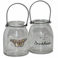 1 - Porta vela de vidrio estampado chico - surtidos