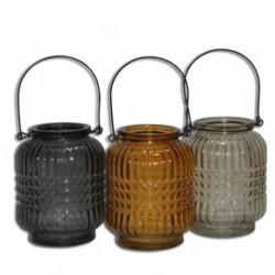 1 - Porta vela de vidrio texturado chico - colores surtidos