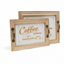 20% DTO. Bandeja de madera Coffee - Set x 2 Grande y chica