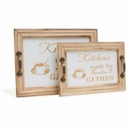 20% DTO. Bandeja de madera Kitchens - Set x 2 Grande y chica