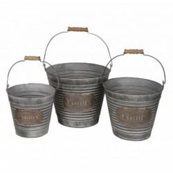 20% DTO. Macetero vintage zinc balde con agarradera set x 3