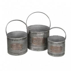 1- Macetero vintage zinc balde redondo set x 3