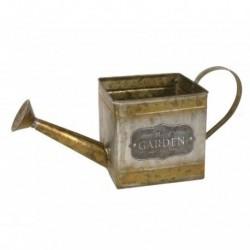 1- Macetero vintage zinc dorado regadera