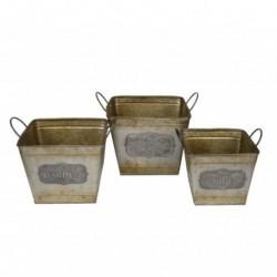 1- Macetero vintage zinc dorado canasto c/asa - x 3