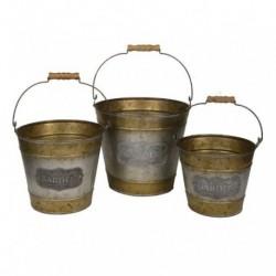 1- Macetero vintage zinc dorado balde c/asa - x 3