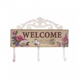 Perchero madera 3 ganchos Welcome