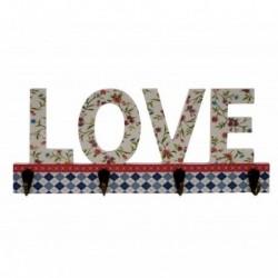 Perchero madera 4 ganchos Love