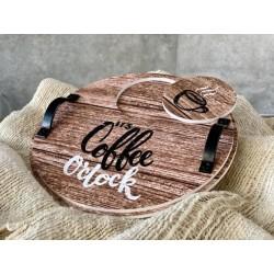 Bandeja y apoya taza redonda de pvc con manija de melta Coffe
