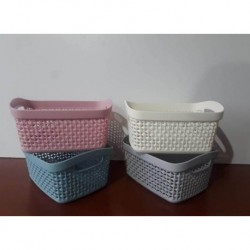 Canasto rectangular de plastico calado chico -  colores surtidos (4 colores)