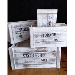 Cajon organizador de madera blanco gastado set x 4