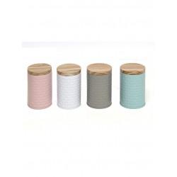 20% DTO. Lata colores pastel con tapa madera - colores surtidos