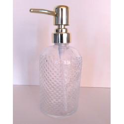 Dispenser de vidrio para jabon con relieve puntos - dorado