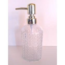 Dispenser de vidrio para jabon con relieve espiga - dorado