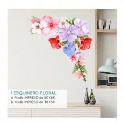 Vinilo decorativo Esquinero floral grande