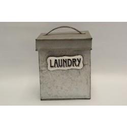 Lata de metal con tapa Laundry