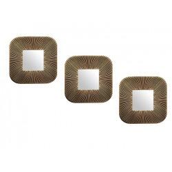 Espejo cuadrado dorado y negro gastado - set x 3