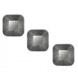Espejo cuadrado plateado y negro gastado - set x 3