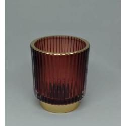 Porta vela de vidrio redondo rojo con bordes y base dorada