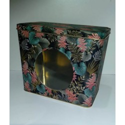 Lata rectangular con visor hojas de colores Safari