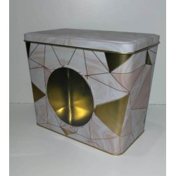 Lata rectangular con visor simil marmol rosa Gold