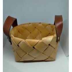 Canasta panera de hoja de palma con manija simil cuero