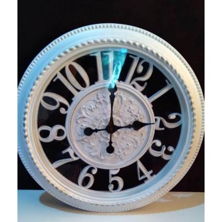Reloj redondo vintage con vidrio, blanco con detalles dorado