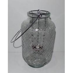 Fanal de vidrio con porta vela de metal
