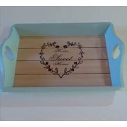 20% DTO. Bandeja de madera vintage Home sweet home - celeste