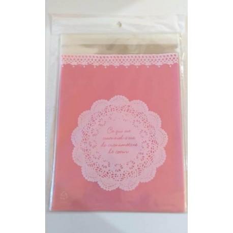 Bolsa de regalo transparente con fondo rosa - cierre con pegamento - x 12 unidades