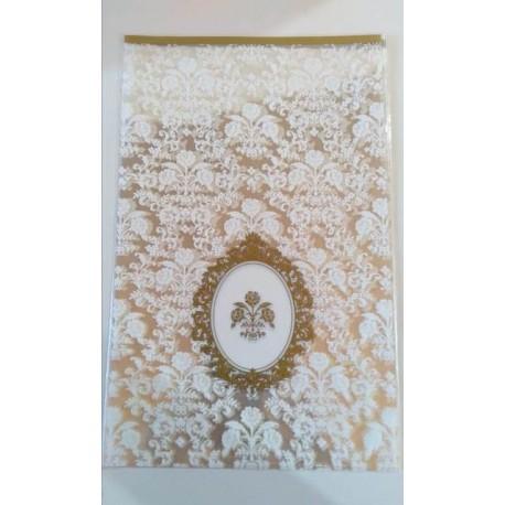 Bolsa de regalo transparente blanca con logo dorado - x 6 unidades
