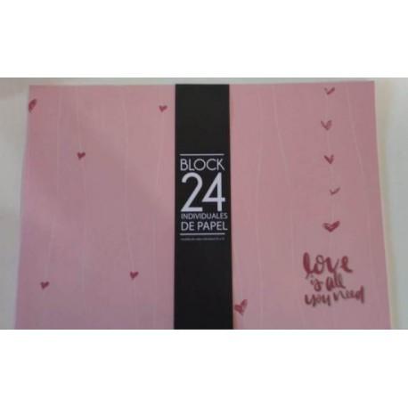 20% DTO. Block de individual de papel estampado Rosa x 24 unidades