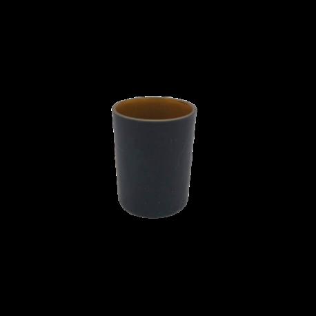 20% DTO. Porta vela de vidrio negro mate con cobre liso