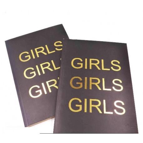 """Cuaderno tapa blanda negro """"GIRLS"""" hojas rayadas borde dorado"""
